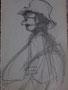 Homme au chapeau, env. 1950 (dessin, 23 x 15 cm, coll. part. GR)