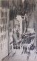 Rue, env. 1960 (Fusain, 29 x 17 cm, coll. part. MR)
