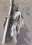Jésus est chargé de sa croix, env. 1946 (dessin, 20 x 33 cm, recto de portrait d'homme, coll. part. MR)