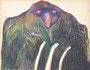 L'oiseau, env. 1990 (craie grasse, 65 x 50 cm, coll.part. MR)