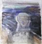 """D'après """"Le cri"""", 2013 (huile et craie sur  toile, 90 x 65 cm, coll. part. MR)"""
