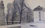 Paris, avenue de l'Observatoire, 1959 (dessin, coll. part. MR)