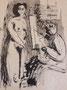 Modèle et son peintre, env. 1948 (dessin, 32 x 25 cm, coll. part. MR)