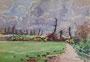 """Chemin, 1949 (aquarelle, 38 x 28 cm, coll. part. MR) recto de """"pichet bleu et orange"""""""