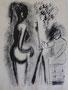 Peintre et modèle, env. 1948 (dessin, 25 x 32.5 cm, coll. part. MR)