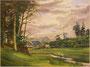"""Source de la Penfeld, 1958 (aquarelle, 36 x 27 cm, coll. part. MCG) au dos """"Bateau école de la marine allemande"""""""