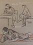 Assis études, env. 1948 (dessin, 25 x 32.5 cm, coll. part. MR)