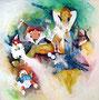 Moni und Camillo, Acryl auf Leinen, 110 x 110 cm, 1993