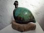 Großes Rebhuhn auf Treibholzsockel, Keramik, Höhe ca. 20 cm