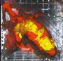 """DI-tOG 010 Werk Dorothee Impelmann """"Feuerschein im Stahlwerk X"""" - 2015 - 25 x 25 x 1,7 cm, Mixed Media tOG-Düsseldorf (c) Dorothee Impelmann"""