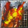 """DI-tOG 014 Werk Dorothee Impelmann """"Feuerschein im Stahlwerk XIV"""" - 2015 - 25 x 25 x 1,7 cm, Mixed Media tOG-Düsseldorf (c) Dorothee Impelmann"""