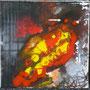 """DI-tOG 013 Werk Dorothee Impelmann """"Feuerschein im Stahlwerk XIII"""" - 2015 - 25 x 25 x 1,7 cm, Mixed Media tOG-Düsseldorf (c) Dorothee Impelmann"""