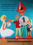 Weltspartag, Jugendsparwoche der Sparkassen, 1960. Sparefroh mit Kindern und Jugendlichen. Plakat von Heinz Traimer.