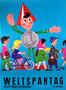 Weltspartag, Jugendsparwoche der Sparkassen (vermutlich 1960). Sparefroh mit Kindern und Jugendlichen. Plakat von Heinz Traimer.