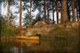 Biwak auf einer Insel auf dem großen Sysdroy See
