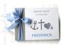 Gästebuch zur Taufe - Glaube Liebe Hoffnung - Format 21cm x 15cm, in steingrau, weiß und blau-weiß-kariert; mit Druck persönlicher Daten und den Symbolen Anker, Kreuz, Herzen, Segelboot.