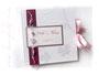 Gästebuch mit vorgedruckten individuellen Gästefragebögen in weiß, pink und rosa.