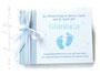 Foto-Gästebuch zur Taufe - 21cmx16cm, 20 Blatt weiß, mit individuell bedrucktem Einband - Name, Babyfüßen, Sternen und Titel mit Datum; in den Farben weiß, hellblau und marineblau.