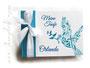 Foto-Gästebuch zur Taufe - 21cmx16cm, 25 Blatt weiß, mit individueller Grafik (viele Taufsymbole in Form einer Taube mit Ölzweig) bedruckter Einband und Druck des Taufspruches im Buch, in den Farben weiß, dunkeltürkis und blau.