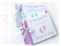 Taufe Zwillinge - 2 gleiche Gästebucher in 2 verschiedenen Farben, mit Wunschtext und individueller Grafik sowie variablem Format.
