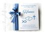 Fotoalbum zur Taufe - 30cm x 30cm, 50 Blatt weiß mit Pergaminzwischenlagen, in den Farben hellblau, weiß und aquablau. Taufsymbole: Herzen, Fisch, Kreuz.