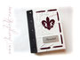 """Individuell gestaltetes Stammbuch mit Ringmechanik - Hardcoverbezug aus Materialmix Nappa-Velour-Lederimitat naturweiss sowie schwarzem und dunkelroten EchtLeder. Format 17,5 x 22 x 4cm. Deko """"Fleur de Lis"""" und Metallschild mit Gravur. DANKE ڿڰ✿ Y.K."""
