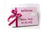 Gästebuch zur Taufe mit rosa-weißem Karoeinband und pinkfarbener Schleife.
