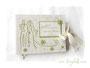 Hochzeitsgästebuch creme und grün mit Applikation Brautpaar und Blumen.