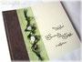 2 in 1 Fotoalbum und Gästebuch - Der Einband ist aus cremefarbenem, samtig dunkelbraunem und erfrischend grünem Strukturpapier angefertigt. Verziert mit Bändern, Perlen und Rosen. Ich bedanke mich bei N. & M.G.
