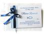 Gästebuch zur Taufe - Format 21cm x 15cm, in weiß, hellblau und marineblau; mit Druck persönlicher Daten und den Taufsymbolen Fische und Wasser.