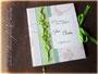 Hochzeitsgästebuch nach Wunsch - Cremefarbener Einband mit Borte in verschiedenen Grüntönen, personalisiertem Druck und Schleifenverschluss. Format 24cmx21cm, 25 Seiten mit Gästefragen und 25 Leerseiten für freie Textgestaltung ڿڰ✿ HERZLICHEN DANK an J&C