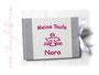 Gästebuch zur Taufe in den Farben weiß, hellgrau und pink; mit Taufsymbol