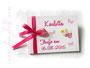 Kleines Gästebuch zur Taufe in den Farben weiß, rosa und pink. Einband mit Namen, Schmetterlingen und einem Engelchen. Druck des Taufspruches auf Seite 1 im Inneren des Taufbuches.