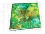 Erinnerungsalbum - 30cmx30cm, 100 Seiten weiß, Bezugstoff: Batik-Leinen mit wundervollen Farbübergängen von gelb, zu grün, bis braun.