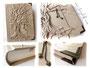 Tagebuch mit Hochrelief Baum - Bezug in der Farbe Antique White Pearl, mit Buchecken, Herzen und Buchblock in Fadenheftung mit Leseband.