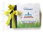Foto-Gästebuch zum 1.Geburtstag - 21cmx16cm, 30 Blatt weiß, mit individueller Grafik (Name, Torte, Kerze, Herzen, Marienkäfer, Wiese) bedruckter Einband, in den Farben weiß, dunkelblau und gelb.