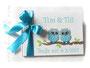 Gästebuch für Zwillinge mit Eulen-Applikation - Format 21cm x 15cm, 64 Seiten weißes 120g-Papier, Druck im Buch, Farben: weiß, hell- und dunkeltürkis.