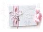 Foto-Gästebuch in weiß und rosa mit Perlen und Engel.