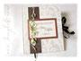 Gästebuch zur Hochzeit - Einbandmaterial weiß/seidenmatt mit üppigem floralen Muster. Die Objekte und Farben des Buchschmucks sind individualisierbar.