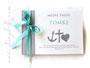 Gästebuch zur Taufe - Glaube Liebe Hoffnung - Format 21cm x 15cm, in hellgrau, weiß und türkis; mit Druck persönlicher Daten und den Symbolen Anker, Kreuz und Herz.