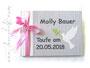 Gästebuch Taufe mit Tauben-Applikation - Format 21cm x 15cm, 64 Seiten weißes 120g-Papier, Druck im Buch, Farben: weiß, hell- und dunkelgrau, rosa, grün.