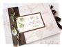 Fotoalbum zur Hochzeit - Einband Strukturkarton floral mit Kleeblättern; filigraner Borte mit Bändern, Perlen, Callas und Dekoringen; mit Coverdruck und Schleifenverschluss.