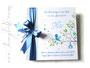 Fotoalbum zur Taufe - 30cm x 30cm, 50 Blatt weiß mit Pergaminzwischenlagen, in den Farben blau und weiß.