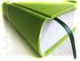 Tagebuch - A5, 160 Seiten weiß, Bezugstoff Canvas hellgrün (robust, langlebig, reißfest), Leseband dunkelgrün.