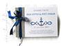 Gästebuch zur Taufe - Format 21cm x 15cm, in steingrau, weiß und marineblau; mit Druck persönlicher Daten und den Symbolen Anker, Herzen, Fische.