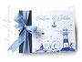 Foto-Gästebuch - 21cmx16cm, 20 Blatt weiß, mit individueller Grafik bedruckter Einband in den Farben weiß, hell- und dunkelblau.