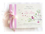 Fotoalbum Taufe - 35cmx25cm, 50 Blatt elfenbeinfarben, individuell bedrucktes Einbandmaterial elfenbeinfarben und rosa.