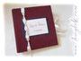 Gästebuch für Wort und Bild - Einband aus reinem Leinen auf voluminöses Vlies kaschiert. Format 25cm x 25cm, 50 Blatt Fotokarton weiß. Coverdruck, Schleifenverschluss, Borte mit weißen Rosen und Perlen. Ich danke ڿڰ✿ L&T aus B.