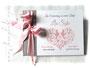Foto-Gästebuch zur Taufe - 21cmx16cm, 20 Blatt weiß, mit individueller Grafik (diverse Taufsymbole in Herzform) Name und Taufspruch, in den Farben silberfarben, weiß und rosa.