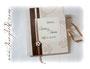 Personalisiertes Gästebuch zur Hochzeit - Hardcovereinband mit verschiedenen Strukturpapieren in cremefarben und changierendem schwarzkupfer bezogen. Individueller Coverdruck und Druck im Inneren.